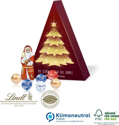Präsent Tannenbaum mit Lindt Schokoladenmischung als Werbeartikel