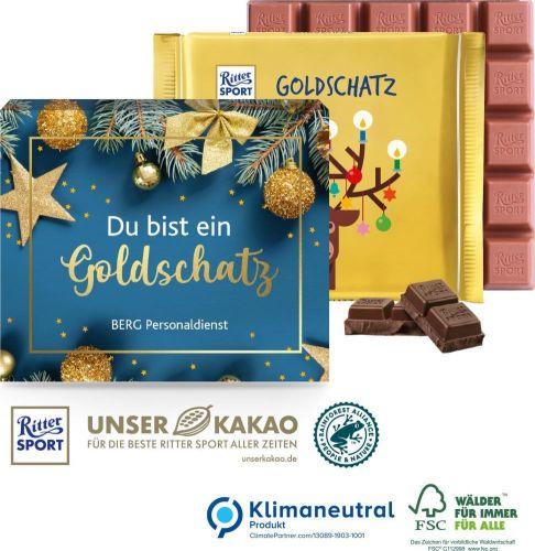 Ritter SPORT Goldschatz, 145 g als Werbeartikel