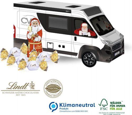 3D Präsent Camper mit Lindt Santa & Vollmilchkugeln als Werbeartikel