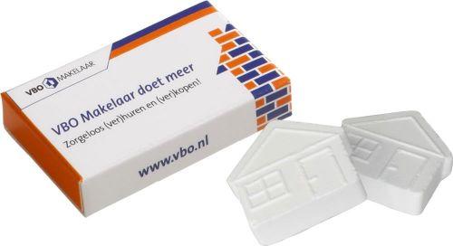 Box mit 2 Pfefferminzhäuschen als Werbeartikel