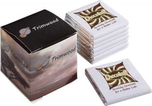 Würfel mit 8 Schokoladentäfelchen als Werbeartikel
