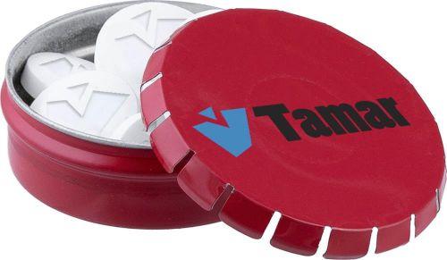 Mini Klick-Klack Dose mit Logo Pfefferminz als Werbeartikel