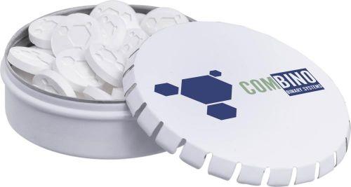 Klick-Klack Dose mit Logo Pfefferminz als Werbeartikel