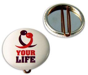 Button mit Nadel 37 mm inkl. 4c-Werbedruck