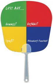 Handfächer mit Griff, Form 1 Spiegel als Werbeartikel