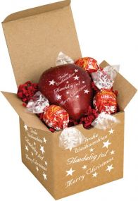 Präsentset Knackiger Weihnachtsapfel & Lindor als Werbeartikel