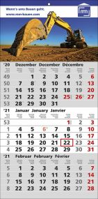 3 Monats-Wandkalender Smart, 3-sprachig als Werbeartikel