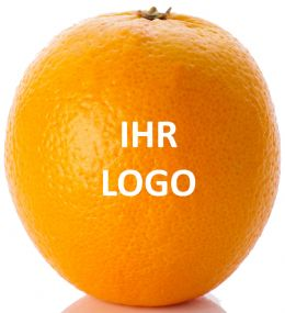 Orange mit Logo