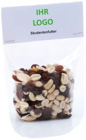 Studentenfutter: Trockenfrüchte mit Nüssen als Werbeartikel
