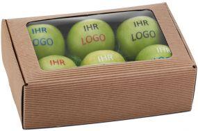 Sixpack mit Sichtfenster für sechs Äpfel