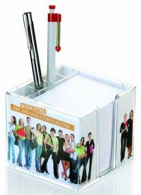 Doppelwandige Zettelbox mit Köcher mit 4c-Werbedruck