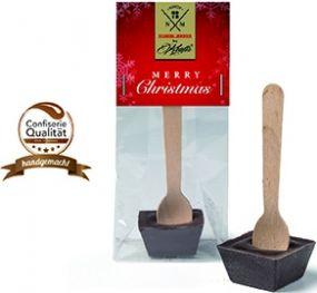 Trinkschokolade am Holzlöffel als Werbeartikel