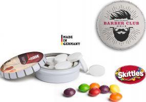 Pfefferminz oder Traubenzucker Mini Clic Clac Box als Werbeartikel