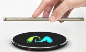 Wireless Charger inkl. 4c Allover-Druck und LED Logo Luftfracht als Werbeartikel