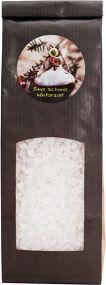 Badesalz mit Lavendelblüten im Blockbodenbeutel mit Etikettendruck