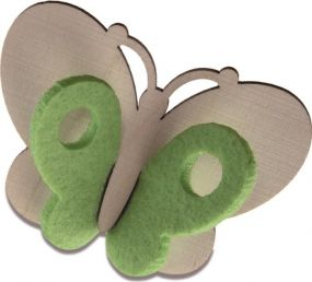 Steckfigur-Schmetterling mit Steckfiguren-Karte Digitaldruck mit einseitigem Druck und Laserung als Werbeartikel