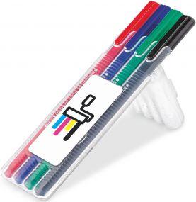 STAEDTLER triplus broadliner, Box mit 4 Stiften als Werbeartikel