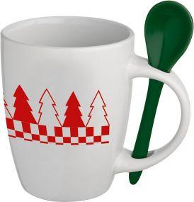Tasse mit Löffel als Werbeartikel