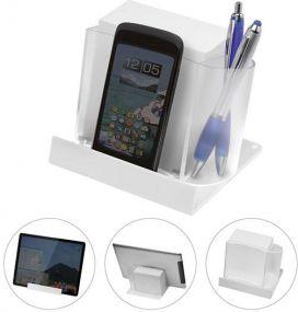 Smartphone- und Tabletständer mit Zettelbox als Werbeartikel