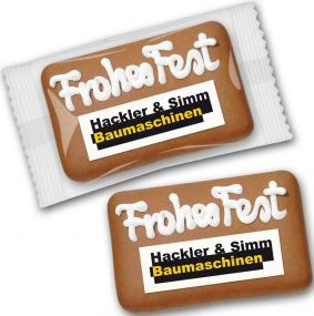 Lebkuchen-Card mit Logo als Werbeartikel