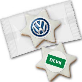 Zimtstern mit Logo als Werbeartikel