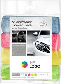 Microfaser PowerPack mit Werbe-Etikett Automobil als Werbeartikel