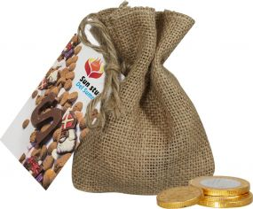 Jute Sack Schokoladenmünzen