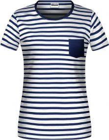 Damen T-Shirt in maritimem Look mit Brusttasche