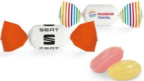 Bonbon im weißen Wickler ungefüllt (alle Angaben/kg) als Werbeartikel