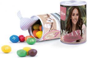 Papierdose Fresh Midi, ungewickelte Bonbons als Werbeartikel
