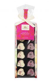 Minischokoladen Herz-Nips, Heidelbeere/Vanille, Etikett