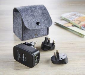 LOGO Reiseadapter mit Pouch als Werbeartikel