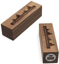 Powerbank Q-Pack Timber Square Nussbaum als Werbeartikel